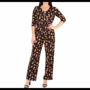 NY Collection Petite Plus Polka Dot Jumpsuit